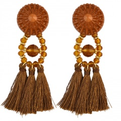 Fashion Bohemian Tassel Beaded Earrings Jewelry Coffee