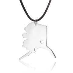 Fashionable United States Map Stainless Steel Pendant Necklace Alaska