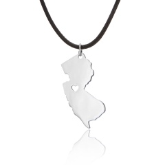 Fashionable United States Map Stainless Steel Pendant Necklace New Jersey