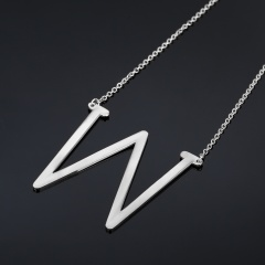 Fashion Silver Women Stainless Steel Alphabet Initial Letter Pendant Chain Necklace A-Z W