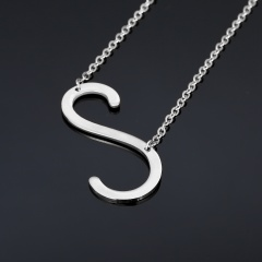 Fashion Silver Women Stainless Steel Alphabet Initial Letter Pendant Chain Necklace A-Z S