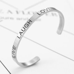 Rinhoo New Fashion Stainless Steel Lettering Engraved Opening Bangle & Bracelet For Women's Exquisite Jewelry Gift Live Laugh Love
