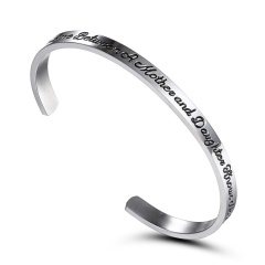 The Love Between A Motherand Daughter Free Engrave Bracelet Customize Fashion Lettering Opening Stainless Steel Bracelet Jewelry White K