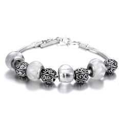 Fashion Silver Alloy Beads With Crystal Beaded Bracelet White