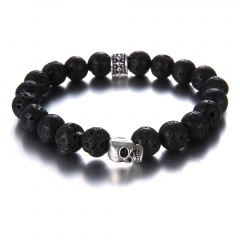 Skull Black Volcanic Stone Bracelet With 8mm Beads Bracelet Jewelry Skull