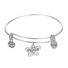 Fashion Peace&Love Lettering Bracelet Silver Bangle Jewelry Wholesale Love