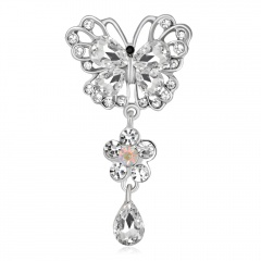 Fashion Butterfly White Crystal Glass Pin Brooch Butterfly