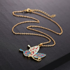 Fashion Acrylic Printing Dog Cat Butterfly Pendant Necklace Long Chain Jewelry Butterfly