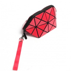 Geometric Frosted Folding Bao-Linge Makeup Bag Hand Bag20*10.5*10.5cm Red