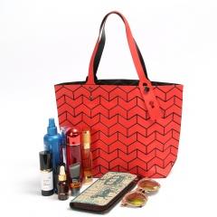 Matte Geometric Diamond Shoulder Bag Handbag 36.5*27*10.5 Red