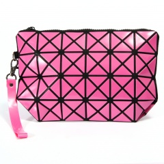 Geometric Ringer Bag Cosmetic Bag Portable Toiletry Bag Travel Storage Bag 24.5cm *16cm Rose red