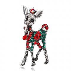 Creative Christmas Gifts Rhinestone Elk Deer Brooches Imitation Pearl Sika Deer Pins Sweater Badges For Women Men Kids Xmas Gift Elk 1