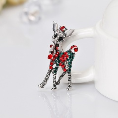Rhinestone Crystal animal deer penguin Brooch Pin Vintage Christmas socks Brooches Pins Fashion Jewelry Christmas Gift deer1