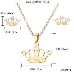 Stainless Steel Snowflake Heart Pendant Earrings Necklace Jewelry Set Party Gift Crown