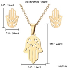 Stainless Steel Snowflake Heart Pendant Earrings Necklace Jewelry Set Party Gift Hand