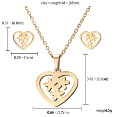 Stainless Steel Snowflake Heart Pendant Earrings Necklace Jewelry Set Party Gift Heart Snowflake