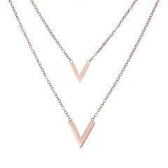 Fashion Multilayer  necklace Simple Rose Gold Necklace Rose Gold