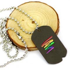 Geometric Rainbow Painting Oil Gay Titanium Steel Dog Tag Pendant Necklace Geometric