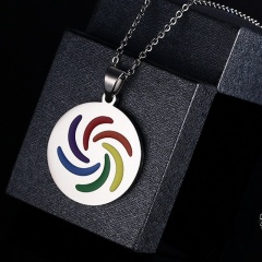Women Men Stainless Steel Rainbow Pendant Necklace LGBT GAY Couple Jewelry Gifts Round