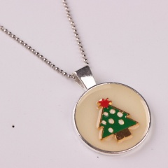 Personalized Luminous Cute Little Snowman Pendant Necklace Jewelry christmas tree