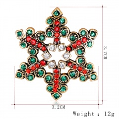 Christmas Bell Snowflake Garland Wreath Snowflake Crystal Enamel Brooch Pin Xmas Green