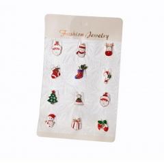 Christmas Series Bow Garland Dripping Oil Small Brooches Pins 12pcs/set