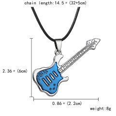 Fashion Stainless Steel Cool Guitar Pendant Necklace Women Men Leather Chain HOT Blue
