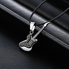 Fashion Stainless Steel Cool Guitar Pendant Necklace Women Men Leather Chain HOT Black