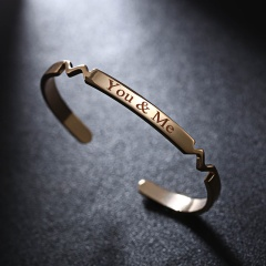 Rinhoo Copper Custom Bracelet Name Bracelet personalized Bracelet Engraved Letter nameplate Bangles cuff Bracelet for Women Gift Gold