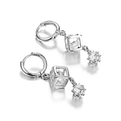 Cute Bowknot Square Stud Earrings Crystal Dangle Earrings Square-Silver
