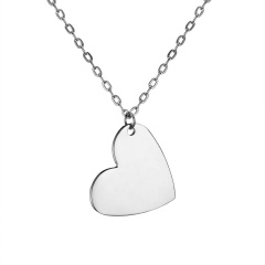 Fashion Love Smooth Stainless Steel Lettering Necklace Necklace Crooked heart