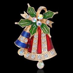 Christmas Bell Snowflake Garland Wreath Snowflake Crystal Enamel Brooch Pin Xmas Blue