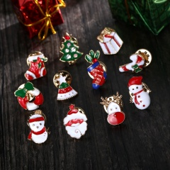 12Psc Christmas Enamel Cartoon Brooch Pin Badge Collar Corsage Women Jewelry New Christmas Set
