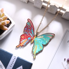 Fashion Colorful Acrylic Butterfly Pendant Necklace Gold Chain Jewelry Red