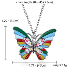 Silver Plated Printing Enamel Animal Dog Cat Elephant Butterfly Pendant Necklace Butterfly Colorful