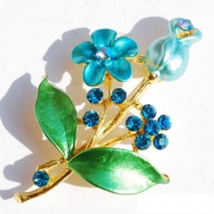fashion flower plant women's brooch jewelry wholesale Blue