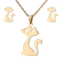 Stainless Steel Gold Plated Horse Heart Pendant Necklace Earrings Jewelry Set Cat