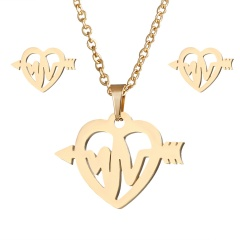 Stainless Steel Gold Plated Horse Heart Pendant Necklace Earrings Jewelry Set ECG love
