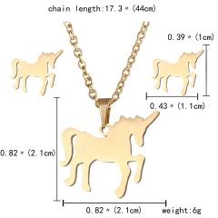 Gold Hollow Women Pendant Necklace Earrings Ear Stud Wedding Jewellery Set Gift Horse