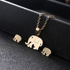 Gold Hollow Women Pendant Necklace Earrings Ear Stud Wedding Jewellery Set Elephant