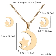 Gold Hollow Women Pendant Necklace Earrings Ear Stud Wedding Jewellery Set Star Moon