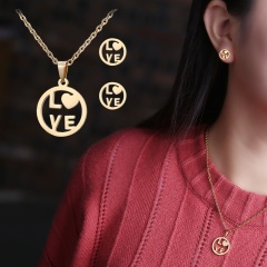 Gold Hollow Women Pendant Necklace Earrings Ear Stud Wedding Jewellery Set Love