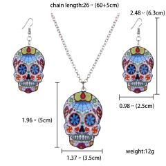 Print Pattern Butterfly Pendant Necklace Earring Women Jewelry Sets Xmas Gift Shantou