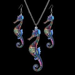 Butterfly Owl Animal Elephant Acrylic Earrings Necklace Jewelry Set Women Gift Seahorse