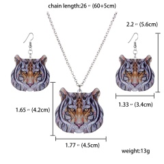 Butterfly Owl Animal Elephant Acrylic Earrings Necklace Jewelry Set Women Gift tiger