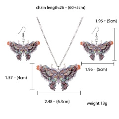 Butterfly Owl Animal Elephant Acrylic Earrings Necklace Jewelry Set Women Gift butterfly