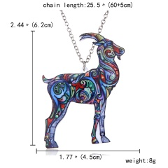 Colorful Printing Animal Cat Dog Horse Dragon Pendant Necklace Gift Hot Sheep