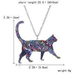 Colorful Printing Animal Cat Dog Horse Dragon Pendant Necklace Gift Hot Big Cat
