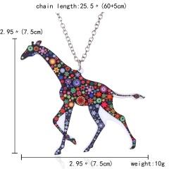 Lovely Printing Flower Animal Horse Camel Giraffe Pendant Necklace Jewelry Gift New Giraffe