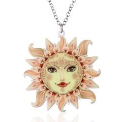 Women Fashion Printing Flower Moon Sun Pendant Necklace Sweater Chain Gift Sun